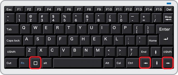 windows+右キーまたは左キーで画面を2分割