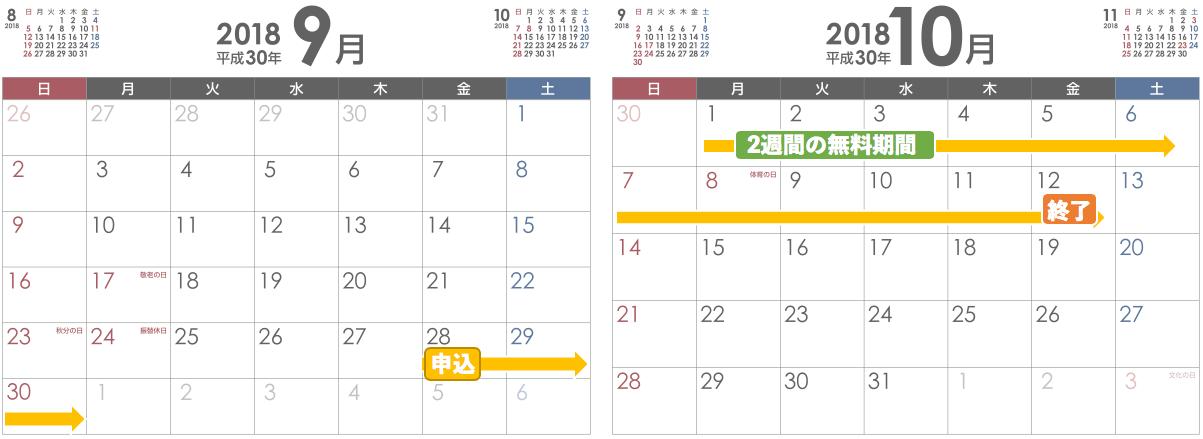 hulu無料期間カレンダー